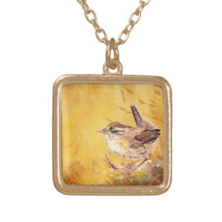 Watercolor Wren Bird for Nature Fans Gold Plated Necklace