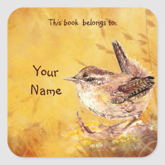 Watercolor Wren Bird This book belongs Bookplate Square Sticker