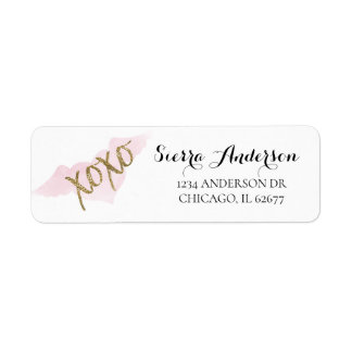Watercolor XOXO Return Address Labels