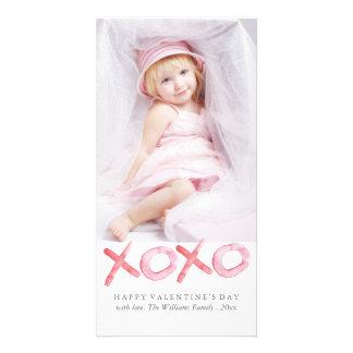 Watercolor XOXO Valentine's Day Photo Cards