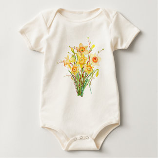 Watercolor Yellow Daffodils Spring Flowers Baby Bodysuit