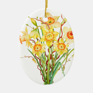 Watercolor Yellow Daffodils Spring Flowers Ceramic Oval Decoration