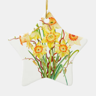 Watercolor Yellow Daffodils Spring Flowers Ceramic Star Decoration