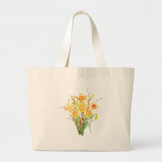 Watercolor Yellow Daffodils Spring Flowers Large Tote Bag