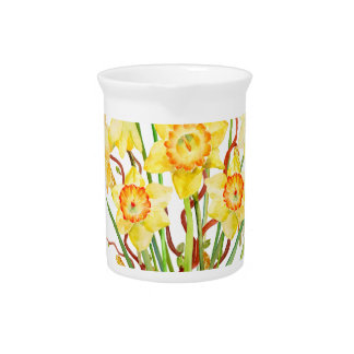Watercolor Yellow Daffodils Spring Flowers Pitcher
