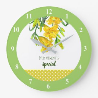 Watercolor Yellow Day Lilies Floral Art Large Clock