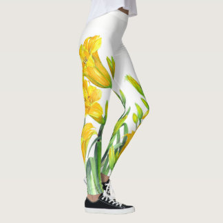 Watercolor Yellow Day Lilies Floral Art Leggings