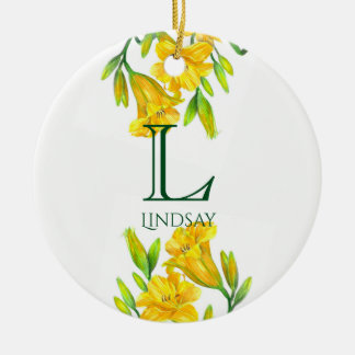 Watercolor Yellow Day Lilies Floral Art Monogram Christmas Ornament