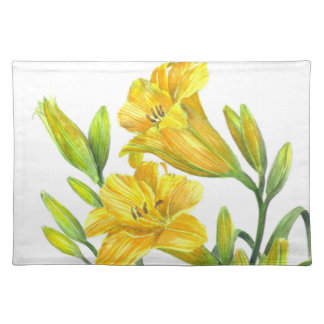 Watercolor Yellow Day Lilies Floral Art Placemat