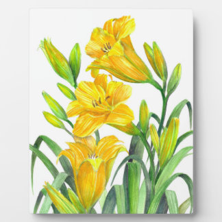 Watercolor Yellow Day Lilies Floral Art Plaque
