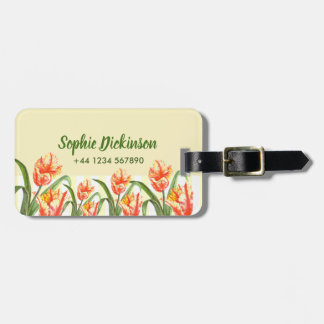Watercolor Yellow Parrot Tulips Floral Art Luggage Tag