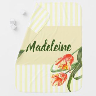 Watercolor Yellow Parrot Tulips Floral Art Stripes Baby Blanket