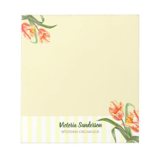 Watercolor Yellow Parrot Tulips Floral Art Stripes Notepad