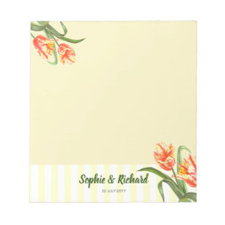 Watercolor Yellow Parrot Tulips Floral Art Wedding Notepad