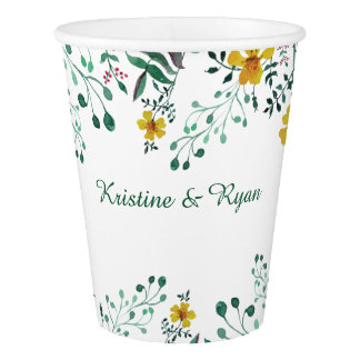 Watercolor Yellow Primrose Garden Paper Cup