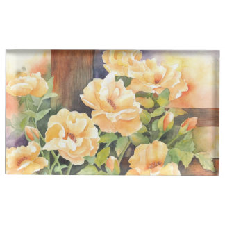 Watercolor Yellow Rose Table Card Holder