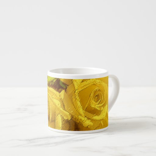 Watercolor Yellow Roses - Espresso Cup Espresso Cups
