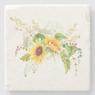 Watercolor Yellow Sunflowers Greenery Bouquet Stone Beverage Coaster