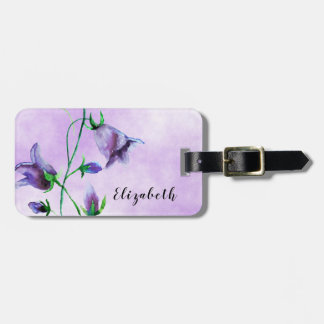 Watercolored bluebells on ultra violet luggage tag