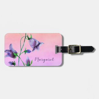 Watercolored bluebells on ultra violet peach luggage tag