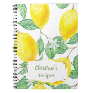Watercolored lemons recipe cookbook notebook