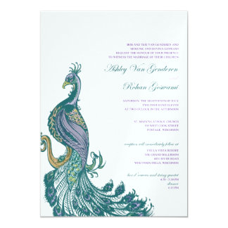 Watercolored Peacock 13 Cm X 18 Cm Invitation Card