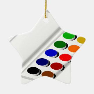 watercolors ceramic star decoration