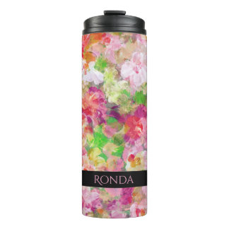 Watercolors Colorful Flowers Pattern Thermal Tumbler