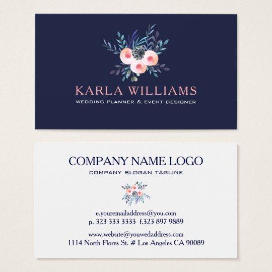 Watercolors Colourful Floral Bouquet Business Card