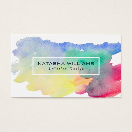 Watercolors Colourful Shape Modern Interior Design Business Card
