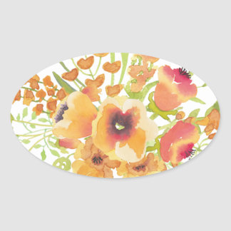 Watercolors flowers oval sticker