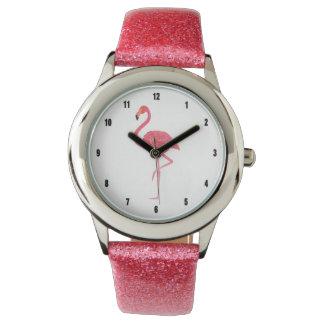 Watercolors Pink Flamingo Illustration Watches