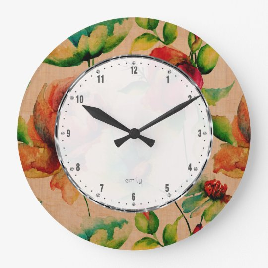 Watercolors Red Budding Roses On Blonde Wood Large Clock