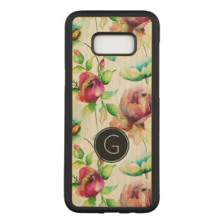 Watercolors Red Roses & Green Leafs Pattern Carved Samsung Galaxy S8+ Case