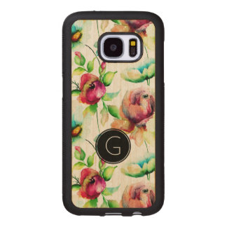 Watercolors Red Roses Illustration Wood Samsung Galaxy S7 Case