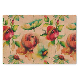 Watercolors Red Roses On Wood Tissue Paper