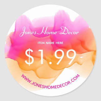 Watercolors Sorbet Price Classic Round Sticker