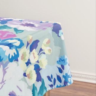 Watercolors Summer Flowers Illustration Pattern Tablecloth