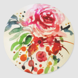 watercolour and ink rose classic round sticker