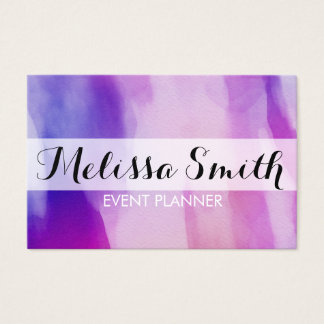 Watercolour  Background Purple Pink Bussines Card