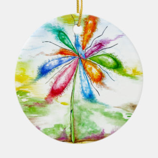 Watercolour, balloon flower christmas ornament