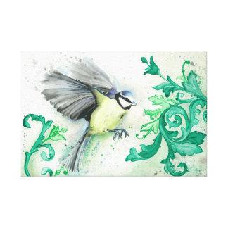 Watercolour bird on canvas