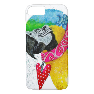 Watercolour Blue and Gold Macaw Cell Phone Case