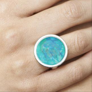 Watercolour blue lake ring