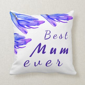 Watercolour Bluebell Floral Square Pillow
