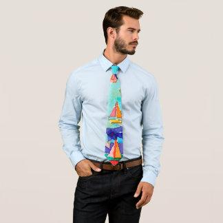 Watercolour Boats Tie