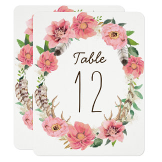 Watercolour Boho Feathers Table Number Cards