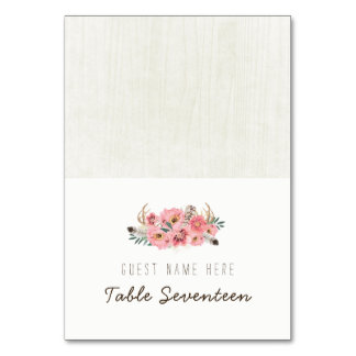 Watercolour Boho Tribal Escort Cards Table Card