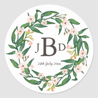 Watercolour Botanical Floral Monogram Sticker