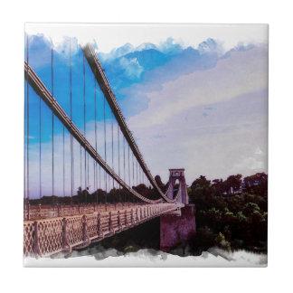 Watercolour Bridge Small Square Tile
